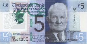 Scottish Polymer 5 pound note front