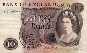 year 1966 ten pound note front