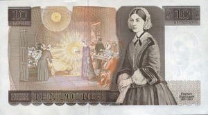 Year 1975 series d ten pound note revision reverse