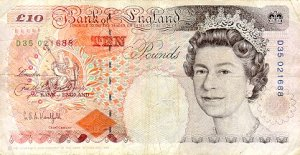 Year 1993 ten pound note front
