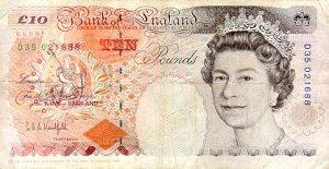 Year 1993 ten pound note front