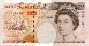 Year 1993 ten pound note revision front
