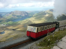 Snowdon mountain railway approaching summit